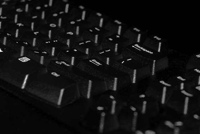 Black and white photo of a keyboard